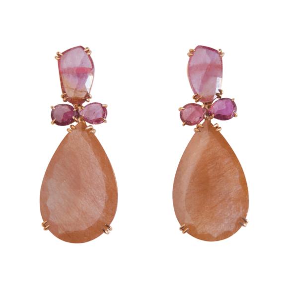 pendientes oro rosa y zafiros
