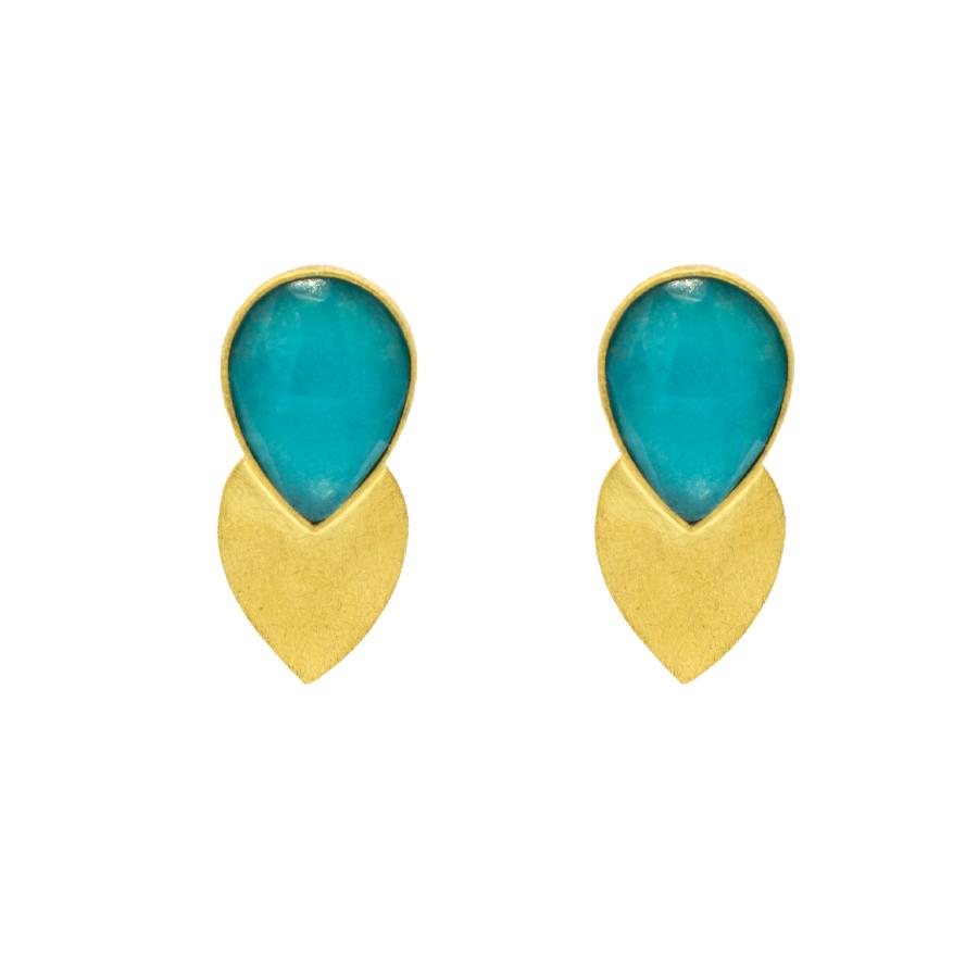 pendientes piedra color turquesa