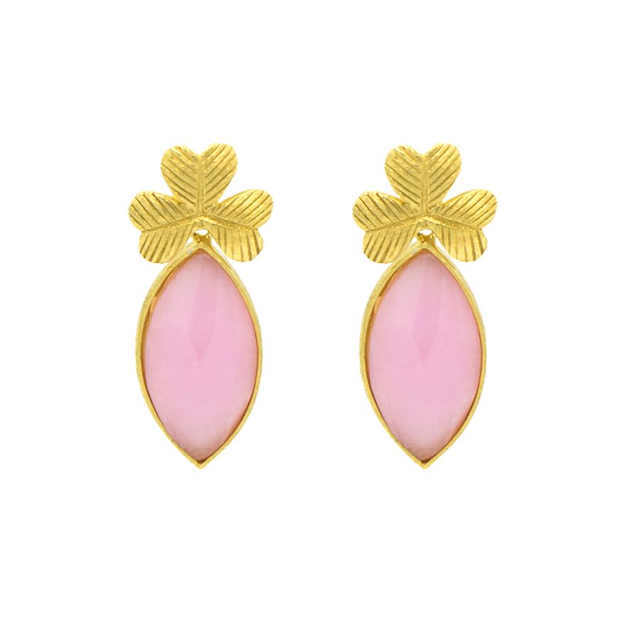 pendientes trebol jade rosa