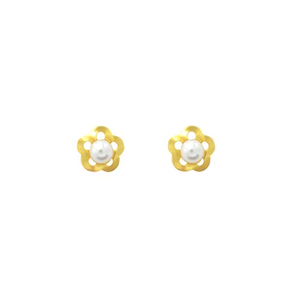 pendientes flor perla niña