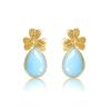 pendientes trebol jade azules