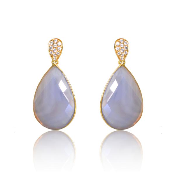 pendientes gris perla circonitas