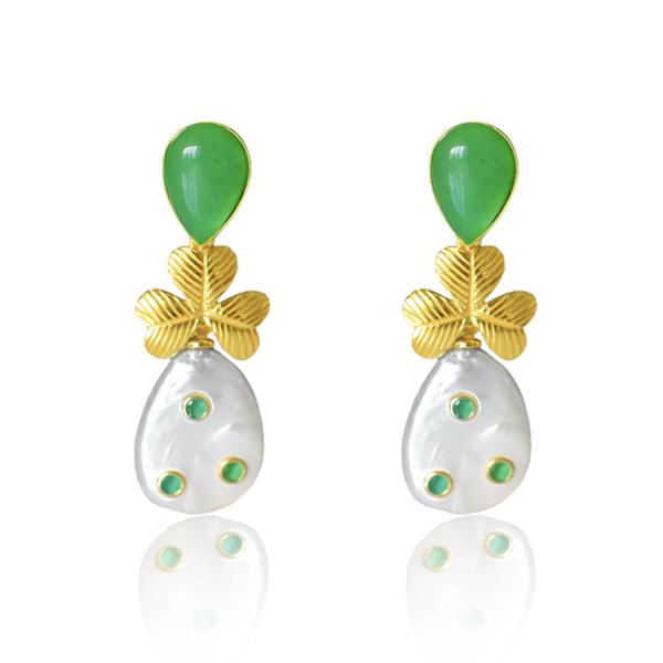 pendientes perla verdes