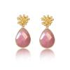 pendientes jade rosa