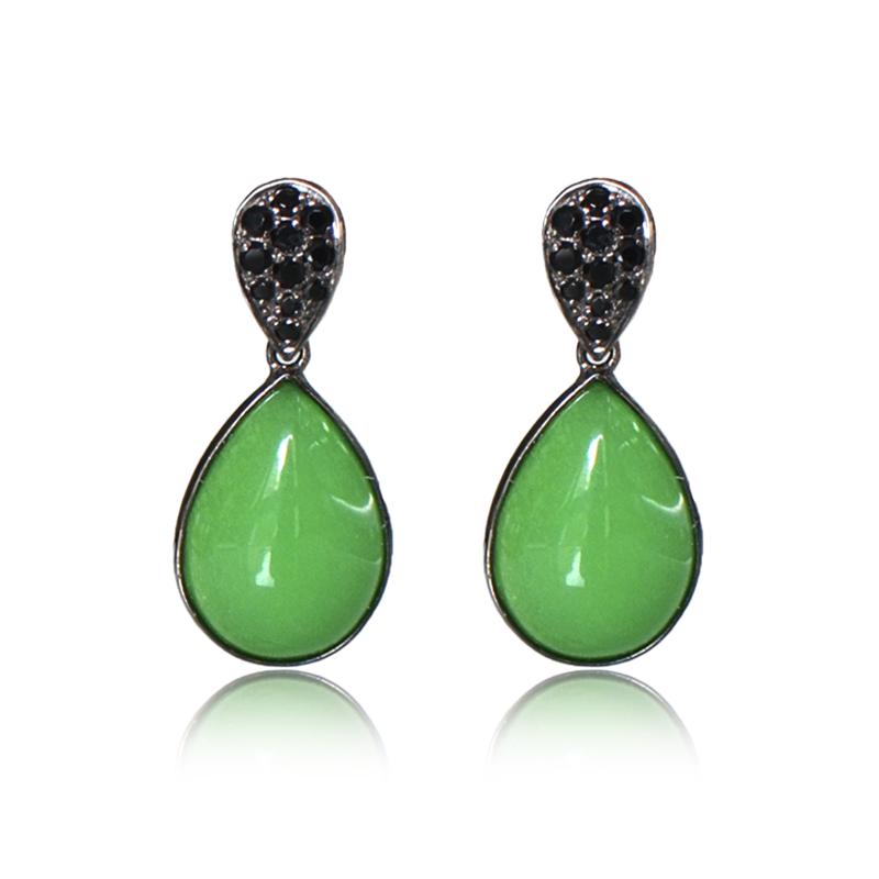 pendientes jade verde imperial