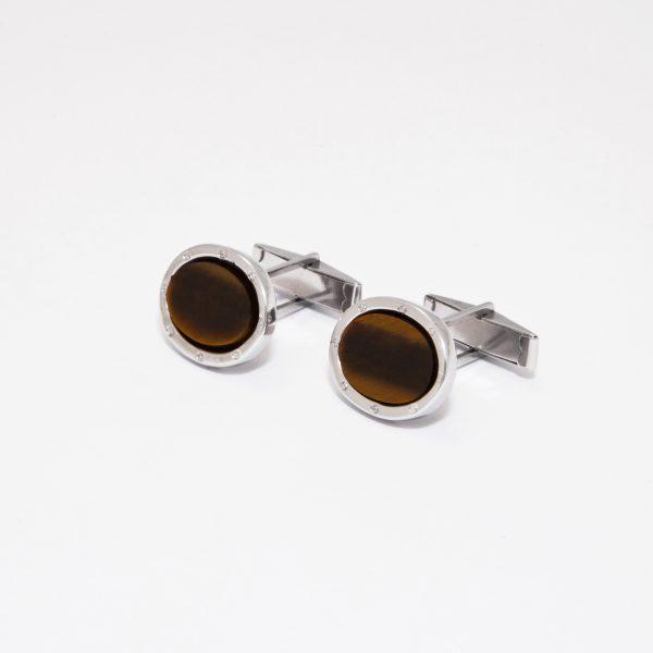 gemelos elegance ojo de tigre color marron